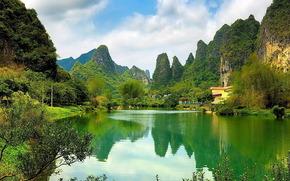китай, горы, вода, деревья, облака, небо