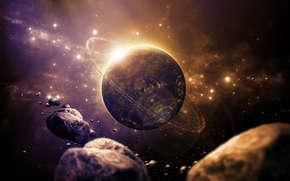 планета, звезды, вспышка