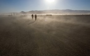 горы, движение, пыль, солнце