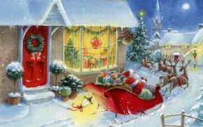 invierno, rbol, nieve, Ao Nuevo, Regalos, Juguetes, Pap Noel, casa
