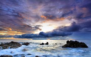 португалия, скалы, море, небо, закат, вода