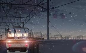 макото синкай, поезд, снег