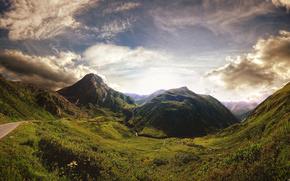 山, 日落, 道路, 美丽, 看