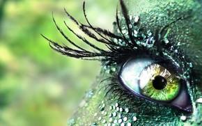 ragazza, occhio, Strass, verde
