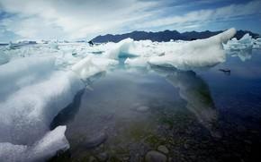 лед, камни, вода
