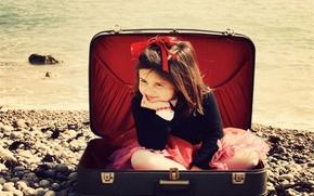 девочка,  чемодан,  море,  камни