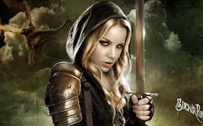 girl with sword, prohibited method, sword, clouds, blonde, hood, Fantasy
