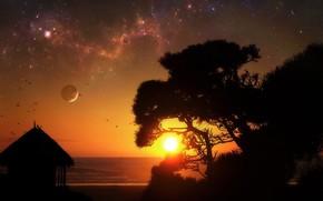 Nacht, Sonne, Sonnenaufgang, Stern