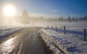 黎明, 冬季, 雪, зимние обои, 美丽的壁纸为您的桌面, 照片, 免费图片, 景观, 性质, 太阳, 天空, 上午, 树, 树, 道路, 道路, заборы, туманы, 阴霾