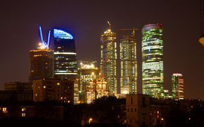 Moscow, night, Moscow City