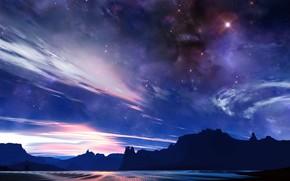 sky, rock, light