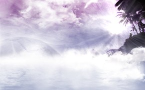 обалка, солнце, лучи, розовая фигня, туман, мечты