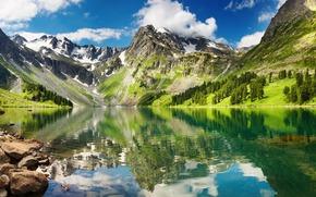 высокие, горы, снег, прозрачное, озеро, отражение, небо, белые, облака