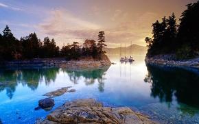 прозрачная река,  вода,  рассвет