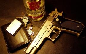 Пистолет,  смирнофф,  водка,  зажигалка,  кошелек,  кожа,  ключи,  брелок,  мафия