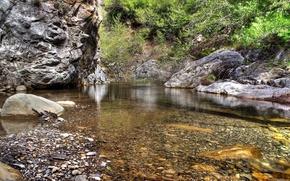 ручей,  галька,  вода,  прозрачная