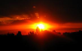 закат,  солнце,  облака