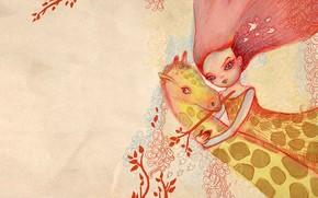 ragazza, giraffa, rosa, abbraccio