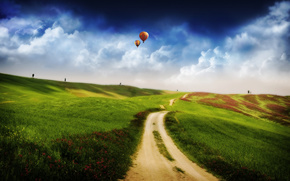 воздушный шар,  дорога,  поле,  небо