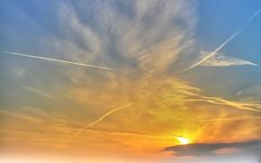 небо, облака, конденсационный след