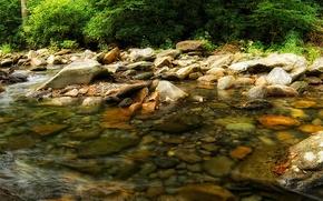 stones, river, water, flow