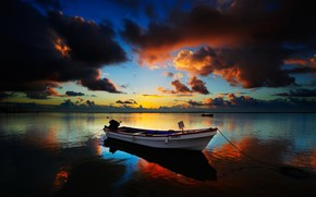 boat, horizon, clouds, evening