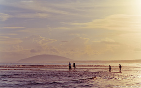 summer, sunset, silhouette, sea, waves