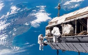 космонавты,  мкс,  земля,  космос