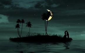romance, together, love, moon