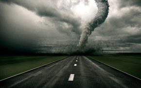 торнадо,  ураган,  смерч,  дорога,  поле