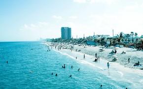 синий, голубой, пляж, люди, песок, море, берег, побережье, отдых
