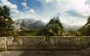 балкон, птицы, горы, руины, стена, деревня, небо