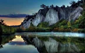 lago, nebbia, Rocks