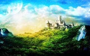 zamek, drzew, chmury