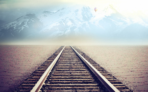 железная дорога,  горы,  воздушный шар