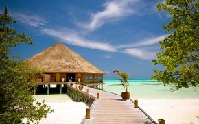sunshine seaside, resort, exotics, bungalow, ocean, azure, beach, bridge