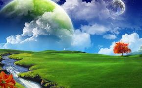 paesaggio, Photoshop, cielo, terra, erba