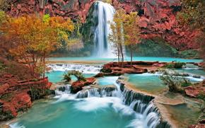 водопад,  деревья,  вода,  солнце