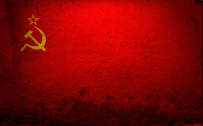 USSR, flag, hammer and sickle, red, wall, star