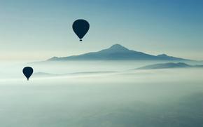 воздушный шар,  горы