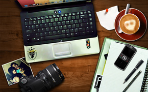 tavolo, taccuino, macchina fotografica, caff, telefono, taccuino