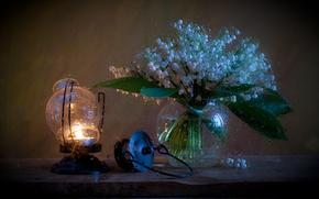 Flowers, vase, lamp