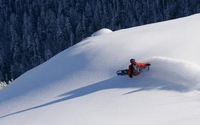 雪, スロープ, ボード, 極端な