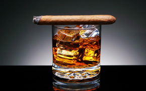 background, stakan.kubiki, ice, alcohol, drink, cigar, tobacco
