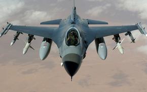 истребитель, многоцелевой, ввс, сша, сражающийся сокол, самолёт, бомбы, ракеты, пилот, обои