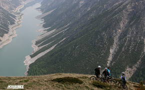 bicycle, Mountains, nice, nicely, lake