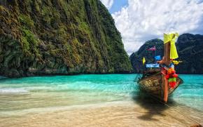 mountain, tropics, sea, coast, boat