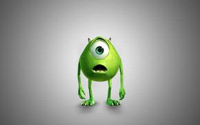Monster, Monsters, Inc., grauen Hintergrund, Green Monster
