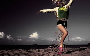 Photoshop, girl, sand, dancing