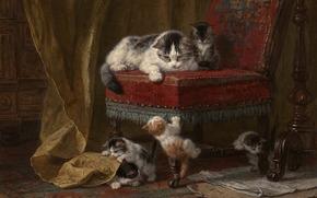 кошка, котята, малыши, играют, краски, картина, кресло
